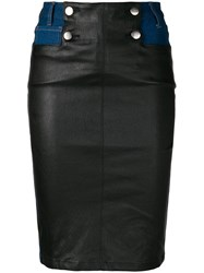 Each X Other Leather Panelled Skirt Blue