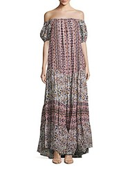 See By Chloe Boho Floral Print Tent Gown Grey Rose Combo