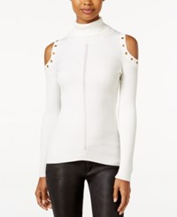 Xoxo Juniors' Embellished Cold Shoulder Sweater Ivory