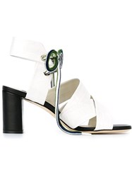 Msgm Crisscross Strap Sandals White