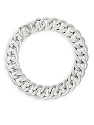 Adriana Orsini Hammered Chunky Link Collar Necklace Silvertone