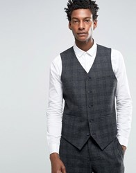 Asos Slim Suit Waistcoat In Charcoal With Black Check Charcoal Grey