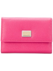 Dolce And Gabbana Foldover Top Logo Wallet Pink And Purple