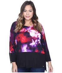 Calvin Klein Plus Size 3 4 Sleeve Dolman Top Black Rouge Women's Long Sleeve Pullover