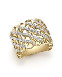 Bloomingdale's Diamond Multirow Twisted Ring In 14K Yellow Gold .35 Ct. T.W. White Gold