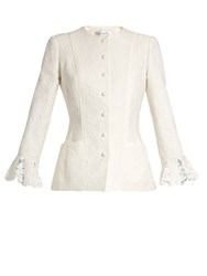Oscar De La Renta Floral Cloque Cotton Blend Jacket White