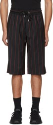 Versus Black And Red Wool Striped Shorts