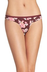 Chelsea 28 Women's Chelsea28 Low Rise Thong Burgundy Royale Exotic Floral