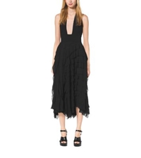 Michael Kors Ruffled Silk Chiffon Halter Dress Black