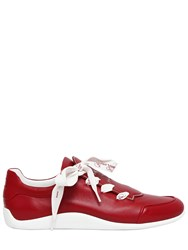 Roger Vivier 10Mm Embossed Logo Leather Sneakers Red
