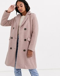 Y.A.S Belted Wrap Coat In Texture Pink