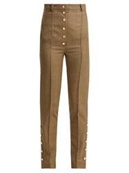 Hillier Bartley High Rise Checked Wool Trousers Brown Multi