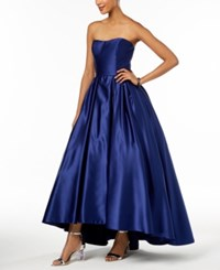Betsy And Adam Petite Strapless High Low Gown Royal