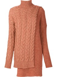 Stella Mccartney Asymmetric Cable Knit Jumper Yellow And Orange