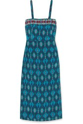 Figue Olatz Beaded Printed Crepe De Chine Midi Dress Turquoise