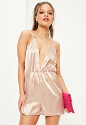 Missguided Petite Exclusive Nude Satin Plunge Neck Playsuit