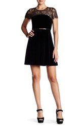 Jessica Simpson Lace And Velvet Belted Dress Black