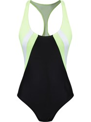 Blue Man Cut Out Swimsuit Black