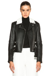 Alexander Wang Leather Double Zip Biker Jacket In Black