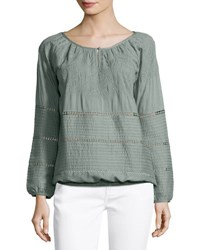 Neiman Marcus Textured Woven Peasant Blouse Sage