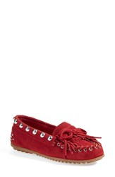 Women's Rebecca Minkoffxminnetonka Studded Moccasin Red Suede