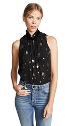 Rebecca Taylor Sleeveless Scattered Tulip Top Black