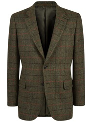 Jaeger Wool Windowpane Jacket Green