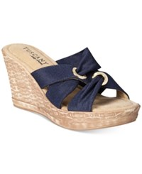 Easy Street Shoes Tuscany Solaro Wedge Sandals Women's Navy