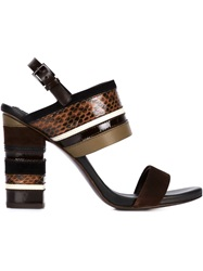 Tory Burch Chunky Heel Panelled Sandals Brown