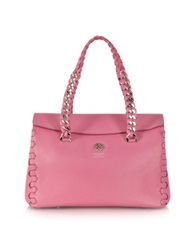 Roberto Cavalli Pompei Small Orchid Pink Leather Satchel Bag Light Blue