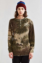 Hanes X Us Rags Camo Dye Thermal Henley Long Sleeve Tee Green Multi