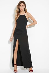 Forever 21 Ruched High Slit Maxi Dress Black