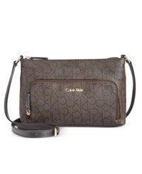 Calvin Klein Monogram Crossbody Textured Brown Brown