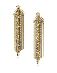 Danielle Nicole Blossom Faux Pearl And Semi Precious Stone Fringe Earrings Gold
