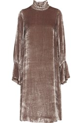 See By Chloe Smocked Velvet Dress Antique Rose