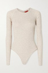 Alix Nyc Coles Cutout Twist Back Ribbed Stretch Modal Jersey Bodysuit Off White