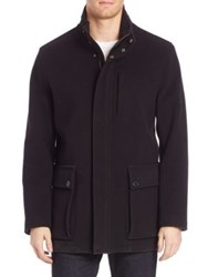 Cole Haan Wool Blend Car Coat Black