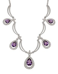 Lord And Taylor Diamond Amethyst Sterling Silver Necklace Amethyst Silver