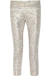 Isabel Marant Carly Sequined Stretch Denim Skinny Leg Pants White