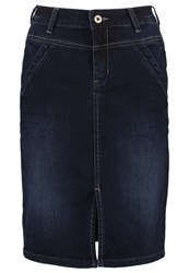 Cream Madisonne Denim Skirt Dark Rich Blue Denim