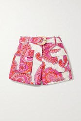 Zimmermann Peggy Paisley Print Linen And Cotton Blend Shorts White