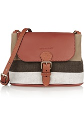 Burberry Leather Trimmed Checked Canvas Shoulder Bag