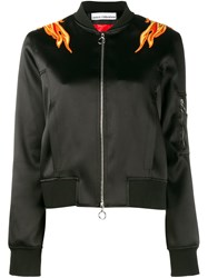 Paco Rabanne Embroidered Flame Bomber Jacket Black