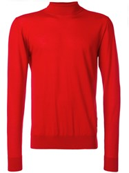Versace Turtleneck Slim Fit Jumper Wool Red
