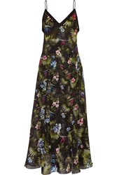Fleur Du Mal Floral Print Silk Chiffon Dress Black