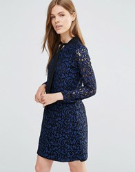 Yumi Long Sleeve Lace Shift Dress With Bow Detail Navy