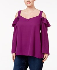 Ing Trendy Plus Size Ruffled Off The Shoulder Blouse Magenta