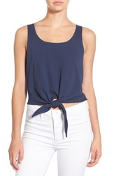 Women's Splendid Knot Front Cotton Crop Top Navy