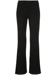 Mrz Ribbed Knit Flared Trousers Black