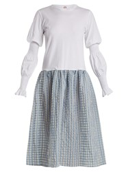 Shrimps Juniper Contrast Gingham And Cotton Jersey Dress Blue White
